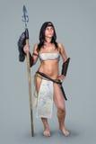 古老战士深色的女孩 库存照片