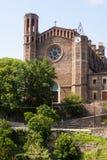古老教会在桑特霍安莱斯丰特斯 免版税库存照片