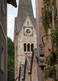 古老教会在Hallstatt,萨尔茨卡默古特,奥地利 免版税库存图片
