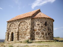 古老教会大卫gareja修道院岩石 免版税图库摄影