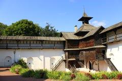 古老斯拉夫民族的木堡垒在Novhorod-Siverskii 免版税库存图片