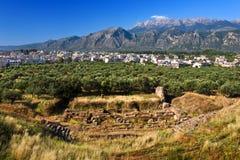 古老斯巴达,希腊剧院  免版税库存图片