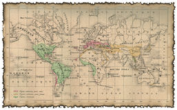 古老映射世界 免版税库存照片