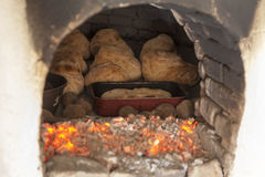 古老木烤箱 图库摄影