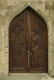 古老木门在博物馆Shirvanshakhs巴库阿塞拜疆 免版税库存图片