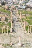 古老杰拉什,希腊罗马市的废墟Gerasa在现代约旦 免版税图库摄影