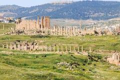 古老杰拉什,希腊罗马市的废墟Gerasa在现代约旦 图库摄影