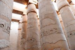 古老柱子在卡纳克神庙 免版税库存照片