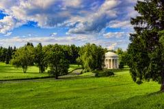 古老树荫处在郊区公园 免版税库存图片