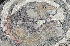 古老楼层狮子马赛克 免版税库存图片