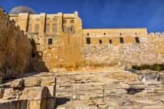 古老步第二寺庙Archaelogical公园耶路撒冷以色列 免版税图库摄影