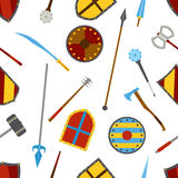 古老武器和盾工具设备样式 免版税库存图片