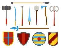古老武器和盾工具设备集合 免版税库存图片