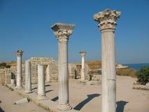 古老殖民地克里米亚希腊khersones废墟塞瓦斯托波尔 免版税库存照片