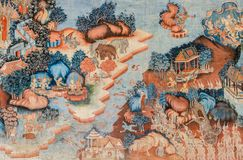 古老泰国佛教寺庙壁画 库存图片