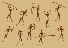 古老洞图画猎人 免版税图库摄影