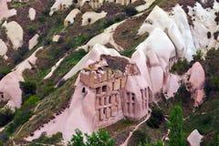古老洞镇在Goreme,卡帕多细亚,土耳其 库存图片