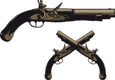 古老燧发枪手枪 免版税库存图片