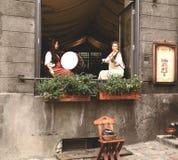 古老爱沙尼亚语衣裳的女孩在乐器使用 免版税图库摄影