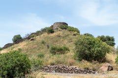 古老犹太市的废墟戈兰高地的Gamla 毁坏由罗马帝国的军队在第67个年广告的 库存图片