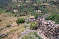 古老犹太市的废墟戈兰高地的Gamla 毁坏由罗马帝国的军队在第67个年广告的 免版税库存图片