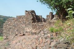 古老犹太市的废墟罗马帝国的军队戈兰高地的Gamla毁坏的  免版税库存照片