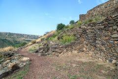 古老犹太市的废墟罗马帝国的军队戈兰高地的Gamla毁坏的  库存图片
