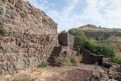 古老犹太市的废墟罗马帝国的军队戈兰高地的Gamla毁坏的  免版税图库摄影