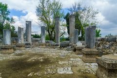 古老犹太教堂废墟在Baram国立公园 库存图片