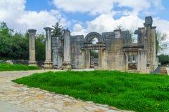 古老犹太教堂废墟在Baram国立公园 免版税库存照片