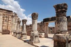 古老犹太教堂废墟在Capernaum,以色列 库存图片