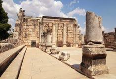古老犹太教堂废墟在Capernaum,以色列 免版税库存图片