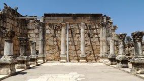 古老犹太教堂的废墟在Capernaum,以色列 免版税库存照片
