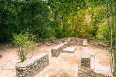 古老玛雅人市的参观卡拉克穆尔-南尤加坦- Mex 免版税库存图片