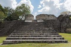 古老玛雅市的废墟Kohunlich,金塔纳罗奥州,墨西哥 免版税库存照片