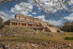 古老玛雅市的废墟Sayil 免版税图库摄影