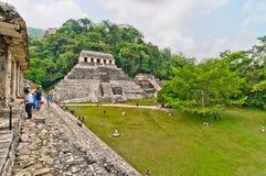 古老玛雅废墟在帕伦克,恰帕斯州,墨西哥 免版税库存照片