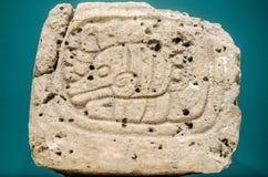 古老玛雅纵的沟纹由石头制成 库存图片