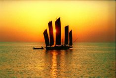 古老瓷hongze湖游艇 库存图片