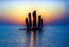 古老瓷hongze湖游艇 库存照片
