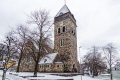 古老的天主教堂在Alesund,挪威 33c 1月横向俄国温度ural冬天 免版税库存图片