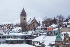 古老的天主教堂在Alesund,挪威 33c 1月横向俄国温度ural冬天 免版税图库摄影