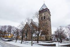 古老的天主教堂在Alesund,挪威 33c 1月横向俄国温度ural冬天 库存照片