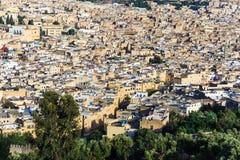 古老皇家市全景Fes,摩洛哥 免版税库存照片