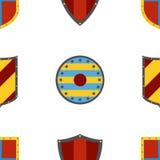 古老盾样式 在平的样式的纹章学盾 免版税库存照片