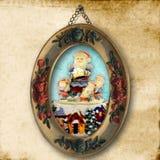 古老看板卡圣诞节问候照片圣诞老人 免版税库存图片