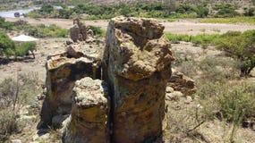 古老石头在沙漠 免版税图库摄影