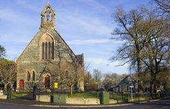 古老石头在温泉修建了长老会围场和教会北爱尔兰唐郡村庄  图库摄影