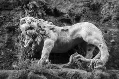 古老石狮子 图库摄影