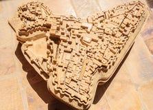 古老石头做了地图Jaisalmer,拉贾斯坦金黄堡垒  免版税库存图片